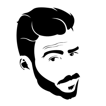 Portrait of young bearded charmer looking at camera with raised eyebrow. Easy editable layered vector illustration. Vettoriali