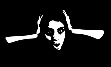 Black and white abstract shapes portrait of screaming frightened woman. Easy editable layered vector illustration.