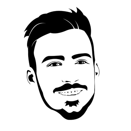 Portrait of smiling friendly hipster with beard in black and white. Easy editable layered vector illustration.