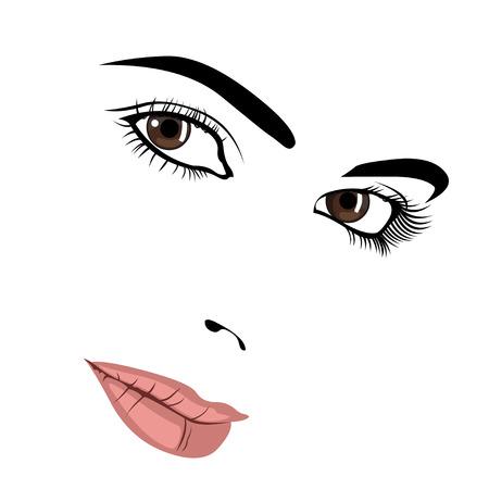 Seductive look of pretty woman face. Easy editable layered vector illustration.