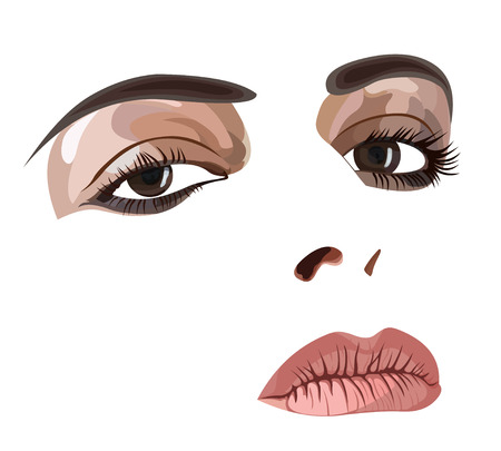Highly detailed illustration of a young womans face with make up. Easy editable layered vector illustration.