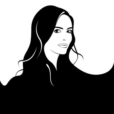 capelli lunghi: Giovane donna con lunghi capelli neri ondulati concetto. Facile illustrazione vettoriale modificabile strati.
