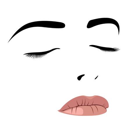 Schoonheid van de jonge vrouw met gesloten ogen. Gemakkelijk bewerkbare gelaagde vector illustratie.
