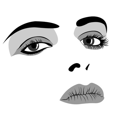 woman back of head: Simplistic black and white face of young woman with makeup. Easy editable layered vector illustration. Illustration