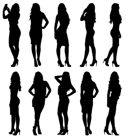 pretty dress: Fashion woman model silhouette in various poses. Set or collection of different figures. Easy editable layered vector illustration.