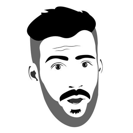 Shocked or surprised bearded man face expression. Easy editable layered vector illustration.
