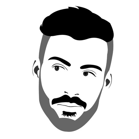 Confident handsome bearded man looking back over the shoulder. Easy editable layered vector illustration.