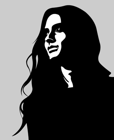 mujer: El arte del clip bajo llave retrato de mujer de pelo largo pensativa mirando hacia arriba. Fácil editable ilustración vectorial capas.