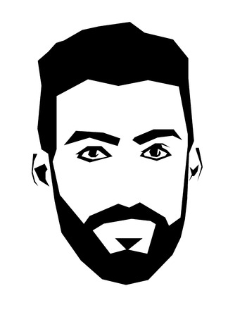 serious: Simplistic straight line square shaped vector illustration of bearded man. Easy editable layered vector illustration. Illustration