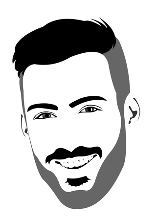 headshot: Happy positive laughing bearded male looking at camera. Easy editable layered vector illustration. Illustration