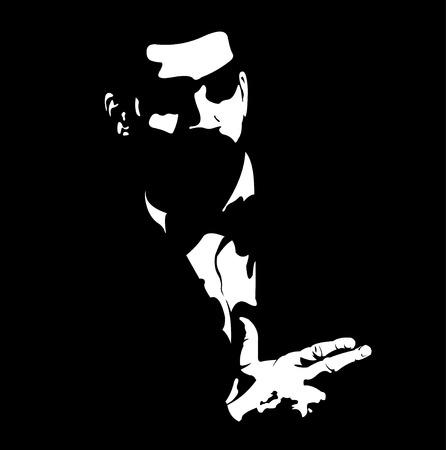 Agente de servicio secreto con el gesto de la pistola arma de fuego en la corbata de lazo. Ilustración del vector.