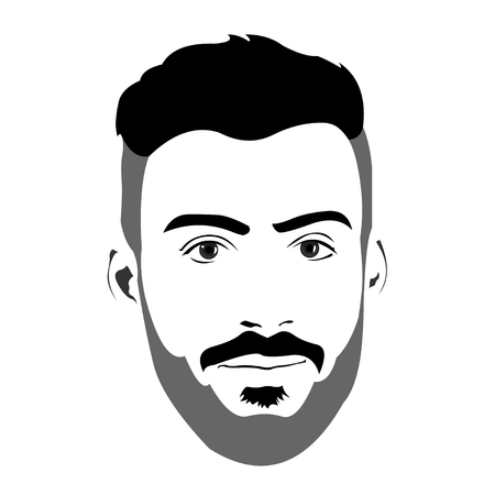 bearded man: Clip art of young bearded man with blank expression looking at camera. Easy editable layered vector illustration.
