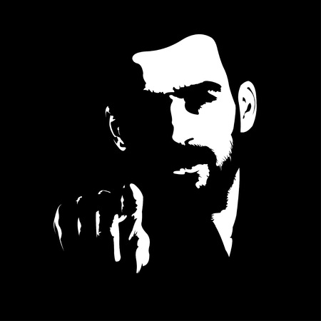 Intense dark shadow portrait of bearded man pointing index finger at camera. Vector illustration. Иллюстрация