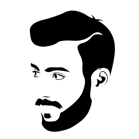 black fashion model: Clip art of young bearded hipster looking away. Easy editable layered vector illustration. Illustration