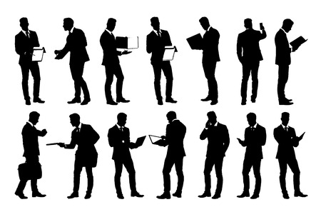 mobile business: Set of detailed businessman in suit silhouettes using holding various business objects. Easy editable layered vector illustration