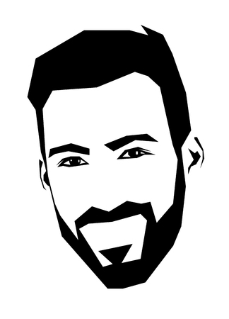 Simplistic straight line square shaped vector illustration of laughing happy bearded man. Easy editable layered vector illustration.