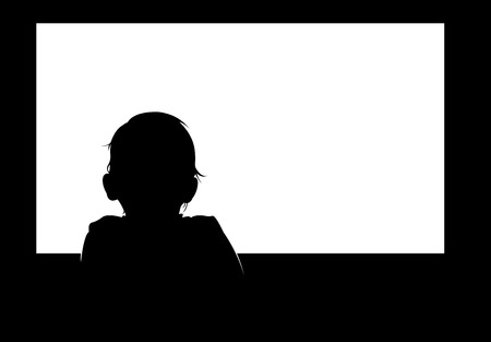 rear view girl: Little baby boy watching blank white television screen. Easy editable layered vector illustration.