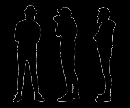 hooded sweatshirt: Collection of outline hipster silhouettes. Easy editable layered vector illustration. Illustration