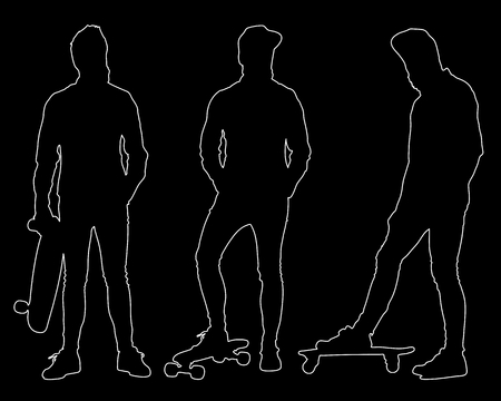 tight body: Set of outline silhouettes of hipster with skateboard. Easy editable layered vector illustration. Illustration