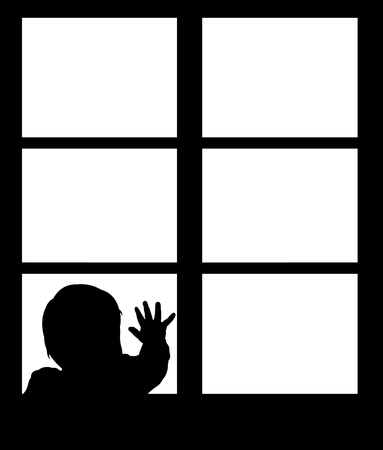 alone boy: Silhouette of little baby waving hand on the window. Easy editable layered vector illustration.