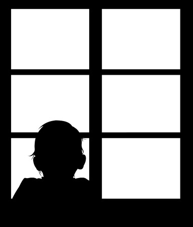 one boy: Silhouette of young baby looking out window. Easy editable layered vector illustration. Illustration