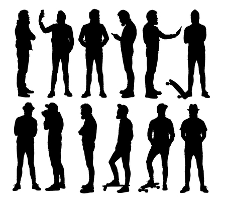 Full body standing hipster in different situations. Set or collection of various bearded man silhouettes.