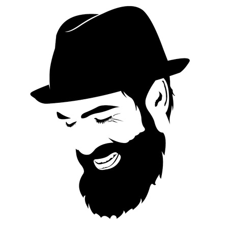 eyes looking down: Vector portrait of laughing bearded man with hat with closed eyes