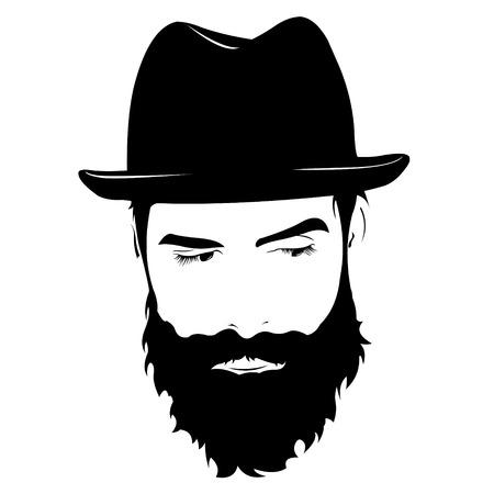 eyes looking down: Vector portrait of serious bearded man wearing hat looking away. Illustration