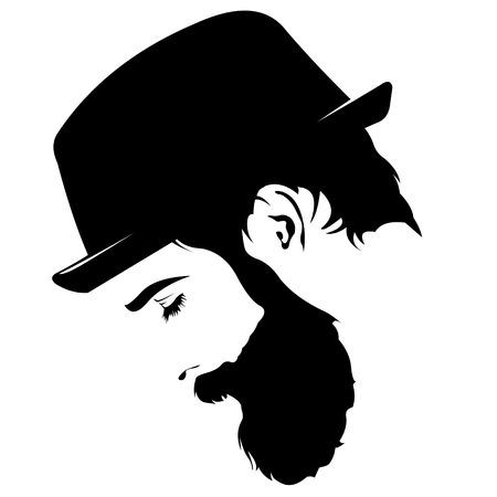profile view of sad bearded man wearing hat looking down Stock Illustratie