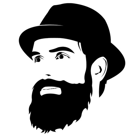 looking away: portrait of bearded hipster face wearing hat looking away.