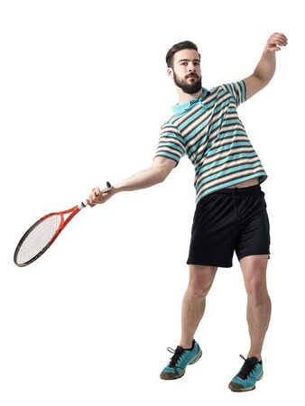 action shot: Action shot of tennis player hit ball in forehand pose. Full body length portrait isolated over white studio background.