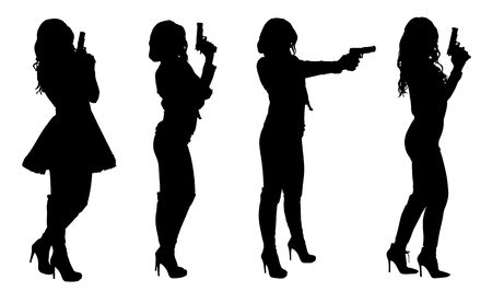 Set of female spy in different clothes with gun. Easy editable layered vector illustration.