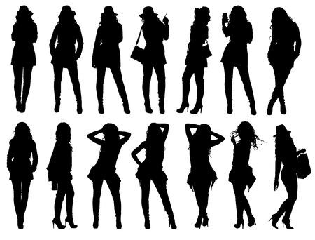 chica fumando: Conjunto de diversas siluetas de mujer de moda. Fácil editable ilustración vectorial capas.