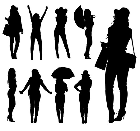 sexy umbrella: Collection of fashion woman silhouettes with various accessories. Easy editable layered vector illustration. Illustration