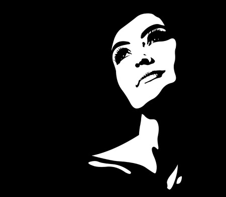 Clip art abstract portrait of young pensive happy illuminated woman looking up smiling.  Easy editable layered vector illustration.