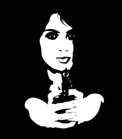 mujer con pistola: retrato en blanco y negro de la joven espía pistola apuntando a la cámara mujer peligrosa. Fácil editable ilustración vectorial capas.
