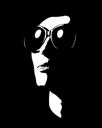 looking away: Abstract shapes silhouette portrait of woman wearing sunglasses looking away.  Easy editable layered vector illustration.