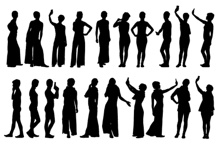smart woman: Collection of different short hair woman silhouettes in various lifestyle poses.  Easy editable layered vector illustration. Illustration