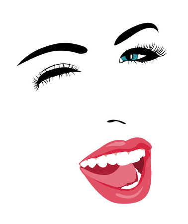 open mouth: Simple pop art style blue eye woman face winking at camera with mouth open.  Easy editable layered vector illustration.