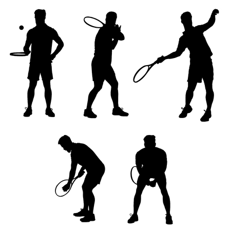 sportsman: Collection of different tennis player poses. Easy editable layered vector illustration. Vectores
