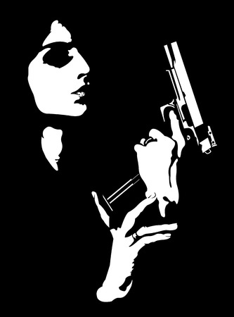 Femme fatale reloading gun abstract portrait.  Easy editable layered vector illustration. 版權商用圖片 - 69594205