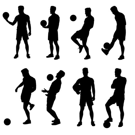 futsal: Soccer of futsal player silhouettes in various action poses.  Easy editable layered vector illustration.