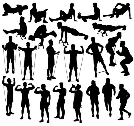 calisthenics: Collection of different exercise silhouettes with resistance bands, foam roller and push up bars.  Easy editable layered vector illustration.