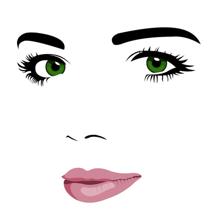 green face: Minimalism pop art style of young green eye woman face.  Easy editable layered vector illustration. Illustration