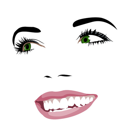 green face: Gorgeous green eye beauty with toothy smile looking away. Woman face layered vector illustration.