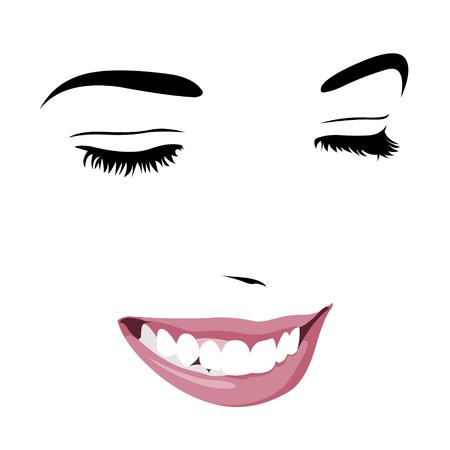 Shy schüchterne Mädchen mit geschlossenen Augen lächelnd. Abstrakt Pop-up-Stil Clip Art. Leicht editierbare geschichtete Vektor-Illustration. Vektorgrafik