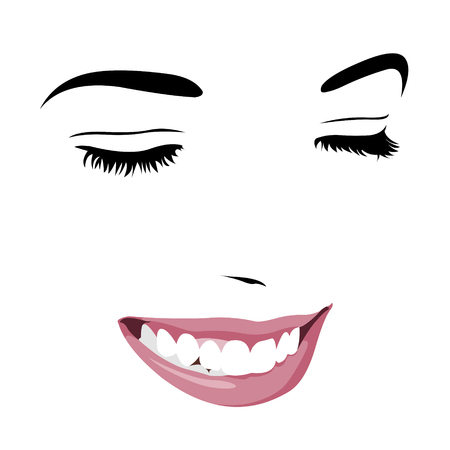 timid: Shy timid girl smiling with closed eyes. Abstract pop up style clip art.  Easy editable layered vector illustration.