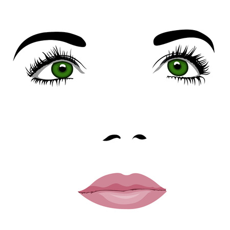 woman looking up: Simple pop art styled woman face with green eyes looking up. Easy editable layered vector illustration. Illustration