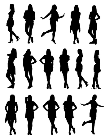 Set of various young fashion woman silhouettes in different clothes and poses.  Easy editable layered vector illustration. Çizim