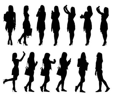 woman accessories: Collection of different young woman silhouettes using phone and bag accessories from everyday life.  Easy editable layered vector illustration. Illustration
